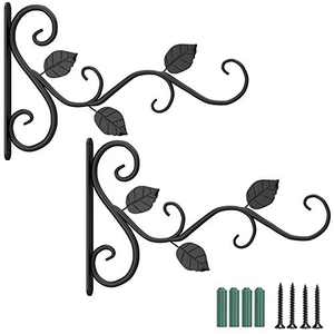 2 Pack Wall Hook Hanging Plant Bracket,11.8 inches Iron Hanging Hooks Screws Included, Decorative Plant Hanger for Bird Feeders, Planters, Lanterns, Indoor Outdoor Rustic Home Decor (2 Pack, Black)