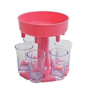 6 Shot Glass Dispenser and Holder | Glasses Hanging Holder Stand Rack | 6 Ways Shot Dispenser for Liquor Glass | Cocktail Dispenser Carrier Caddy Liquor Dispenser Drinking Games for Cocktail Party Bar