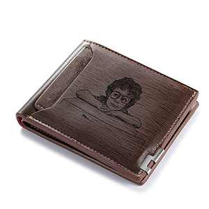 Persoanlized Slim front Pocket Wallet for Men with Picture Custom Minimal Wallet Slim PU Leather Wallets for Men
