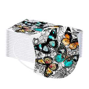 BUPMUM Printed Disposable Face Masks,Adult Unisex Fashion Face Mask, 6 Color Flowers Butterfly Mask 50PCS(A)