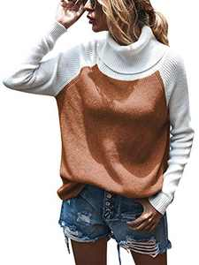 Womens Turtleneck Color Block Soft Cute Ribbed Sweaters Pullover Tops Jumper