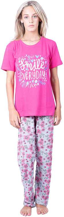 ThreadMills Pyjamas for Women - 100% Cotton Two Pieces Summer Women Pyjamas - Crew Neck Short Sleeves Comfy Lounge Wear Sets for Women UK - Drawstring Ladies Pyjamas