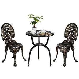 Aura Outdoor Bistro Set 3 Piece Outdoor, Bistro Table Sets Outdoor with Umbrella Hole, Patio Set with Umbrella Table and Chairs - Cast Aluminum, Dark Bronze
