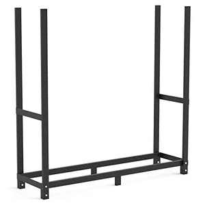 4ft Firewood Rack Stand Outdoor Heavy Duty Log Rack Fire Wood Storage Holder Patio Fireplace Steel Metal Wood Pile Storage Stacker Logs Organzier