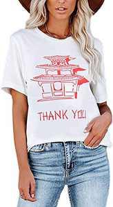 Sofia's Choice Women's Graphic Letter Print T-Shirt Round Neck Short Sleeve Tops White Temple Print M