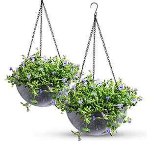 """Hanging Planters for Outdoor Indoor Plants, Hanging Flower Pots with 2 Drainage Holes and Plug, Hanging Plant Holder for Home Balcony Garden Decor (10"""", Set of 2) (Marble Blue)"""