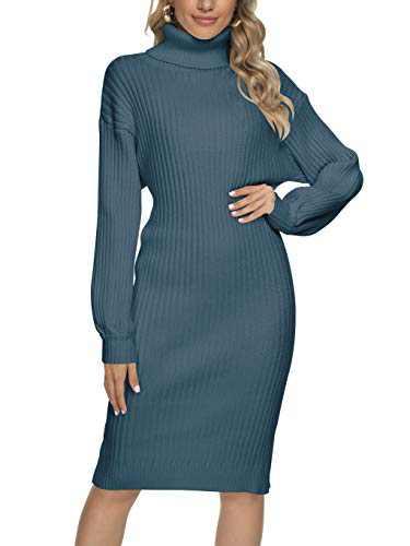 ANRABESS Women Sweater Dress Turtleneck Ribbed Knit Casual Slim Long Sleeve Midi Dress A300dianlan-XL Navyblue