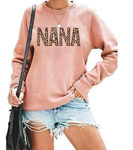 EGELEXY Mama Sweatshirt Women Cute Leopard Funny Letter Print Mom Blouse Tops Casual Long Sleeve Vacation Shirts Tops (Nana Pink, Medium)