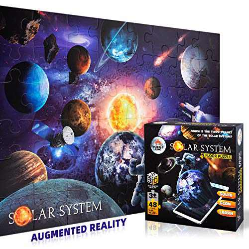 Puzzle King AR Puzzles for Kids Ages 4-8 Solar System 48 Pieces,Jigsaw Puzzles for Preschool Toddlers, Puzzle Toys for Boys & Girls