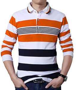 JHVYF Men's Long Sleeve Stripe Polo Shirts Casual Slim Fit Basic Designed Cotton Shirts H06 Orange US M