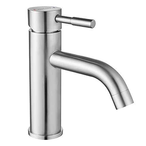 Interhasa! Bathroom Faucet Brushed Nickel Single Hole Bathroom Sink Faucet Vanity Modern Bath Stainless Steel Single Handle Faucet for Laundry, Washbasin, Rv Vessel Basin Lavatoryssel Basin Lavatory
