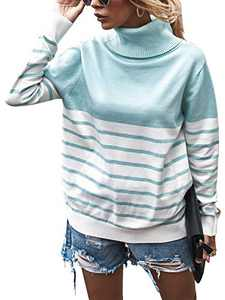 Womens Casual Turtleneck Color Block Sweater Knitted Loose Winter Pullover Tops