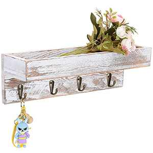 LOSOUR Key Holder for Wall with Shelf, Shabby Chic Hand Crafted Entryway Mail and Key Holder Wall Mount with 4 Hooks