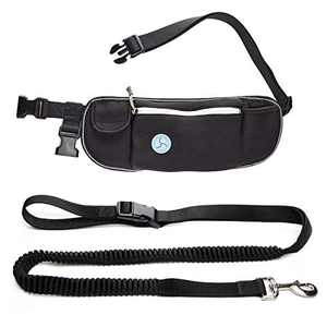 Hands Free Dog Leash for Running Walking Jogging with Adjustable Waist Belt Bag Phone Pocket and Treat Pouch Durable Bungee Lead for Medium & Large Dogs