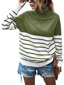 AQOTHES Womens Casual Turtleneck Stripe Knit Pullover Sweater Long Sleeve Tops Jumper
