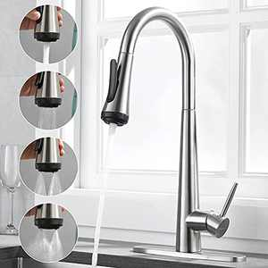 Rainovo Kitchen Faucet with 4 Mode Pull Down Sprayer Brushed Nickel, 3 Hole Kitchen Sink Faucet Stainless Steel with Deck Plate, Single Handle Faucets High Arc Commercial Modern with Pull Out Sprayer