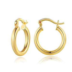 Small Gold Hoop Earrings for Women, 14K Gold Plated 925 Sterling Silver Post Hypoallergenic Mini Chunky Open Hoops Earrings Dainty Tiny Small Gold Hoop Earrings for Women Jewelry 20mm