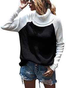 Womens Casual Turtleneck Color Block Patchwork Knitted Sweater Pullover Tops
