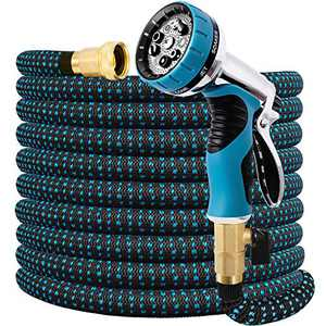 """Expandable Garden Hose 75 FT Water Hose with 9 Function Nozzle and Durable 3-Layers Latex, Extra Strength 3750D Flexible Hose with 3/4"""" Solid Brass Fittings and High Pressure Water Spray Nozzle Hoses"""
