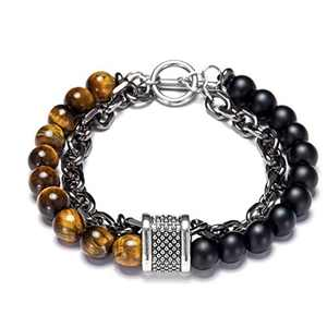 LL&TIFNIY Chakra Stone Bead Bracelets Essential Oil Aromatherapy Nature Stone Black Stainless Steel Magnetic Clasp Tiger Eye Diffuser Bead Bracelet Jewely for Men Women (Yellow Eye-Tiger)