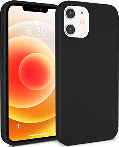 ATUAT Compatible with iPhone 12 Case and iPhone 12 Pro Case 6.1 inch, Silky Soft Liquid Silicone Case, [Snug Fit] [Screen & Lens Protection] [Shock-Absorbing] - Black