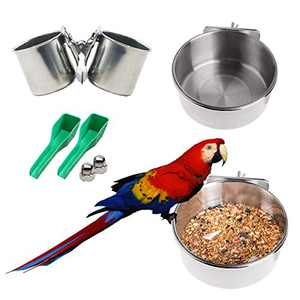 Bird Feeder for Bird Cage Accessories 3PCS Stainless Steel Bird Bowls for Cage,Bird Feeding Cups with Clamp for Parrot