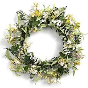 """LOHASBEE Artificial Wreath, 22"""" Faux Greenery Wreath with Berries for Home Front Door Hanging Wall Window Wedding Party Decor"""