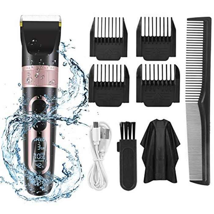 Professional Hair Clippers for Men Cordless Beard Trimmer Haircut Kit LED Display Rechargeable T-Blade Shavers for Men Waterproof 3/6/9/12 mm