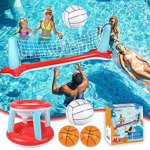 """Pool Floats Toys Inflatable Pool Volleyball Set & 3 Balls with Basketball Hoops Party Swimming Game Toy for Kids and Adults, Floating Water Play Gift Summer Floaties, Volleyball Net (115""""x30""""x37"""")"""