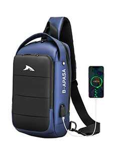 BAPASA Men Sling Crossbody Bag Compact Shoulder Waterproof Sling Bag USB Casual Sport Lightweight Backpack Daily Travel Hiking (Blue)