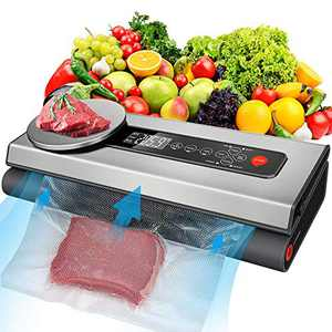 Vacuum Sealer Machine, 80Kpa Vacuum Sealer for Food with Kitchen Food Scale & LCD Display, Dry & Moist Food Modes, Automatic Vacuum Air Sealing System For Food Saver, Gray