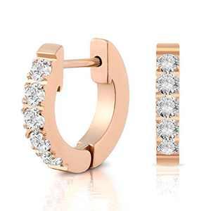 Rose Gold Plated Cubic Zirconia Earrings Huggie Earrings For Women Ear For Women 15mm size medium