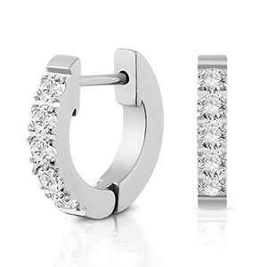 White Gold Plated Cubic Zirconia Earrings Huggie Earrings For Women Ear For Women 15mm size medium