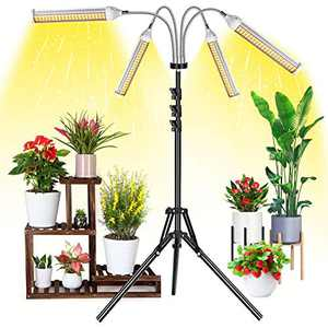 Garpsen Grow Light with Stand, G200W 420pcs LED Plant Lights for Indoor Plants, 3/6/12H Timer Full Spectrum LED Grow Lamp with Tripod Stand Gooseneck Adjustable, 5 Dimmable Brightness, 4 Switch Modes