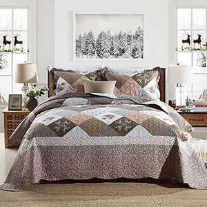 Y-PLWOMEN Bedspread Quilt Set Queen - Patchwork Plaid Farmhouse Reversible Soft Modern Chic Floral Lightweight Bedspreads,Coverlet, Bedding Set, Queen Size 3 Piece
