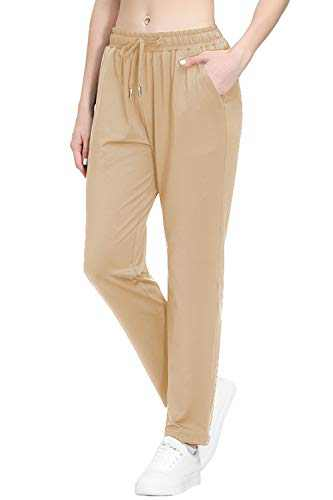 Women's Stretch Lounge Sweatpants Joggers Ankle 7/8 Athletic Track Yoga Dress Pants Khaki L