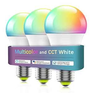 Smart Light Bulb WiFi & Bluetooth Connect, Comoyda RGBCW Color Changing Dimmable LED Bulb A19 E26 7w (60W Equivalent) Compatible with Alexa, Google Home, Siri, No Hub Required (3 Pack)