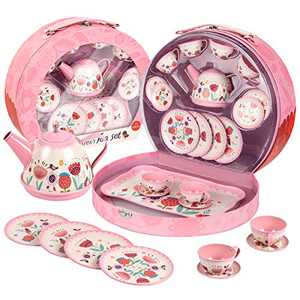 UNIH Kids Tea Set Tin 15 Piece Pink Tin Tea Party Set for Tea Party and Kids Kitchen Pretend Play with a Carry Case