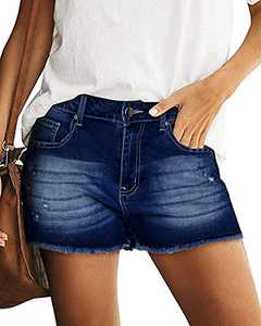 OUGES Women's Casual Ripped Denim Shorts Stretchy Frayed Raw Hem Shorts Jeans(Deep Blue,S)