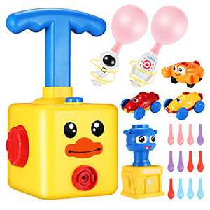 Balloon Powered Cars Balloon Launcher, Party Supplies Preschool Educational Aerodynamic Cars Toy Set with Pump for Kids, Science Toys Manual Balloon Powered Car with 12 Balloons (A - Yellow Duck)