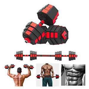【US Fast Shipment】 Fitness Dumbbells Set,Adjustable Hex Shaped Dumbbells Barbell 2 in 1 with Connector, Adjustable Dumbbell Barbell Sets of (22/88/110 LBS), All-Purpose, Home, Gym, Office (2pc-66LB)