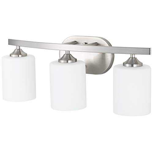 NEOUS 3 Light Vanity Fixture Brushed Nickel with Milky White Glass Shades E26 Base Bathroom Lights Fixture