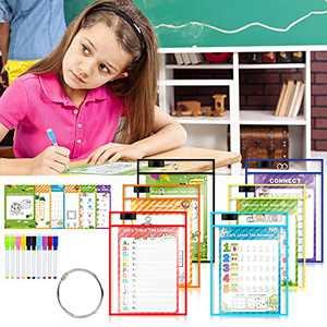 6 Pack Dry Erase Pockets, Dry Erase Sleeves Kids Ages 4-8-12 Assorted Color Oversized 10X14 inch Paper Great for Teachers, School, Home & Office.
