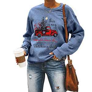 Womens Casual Hallmark Letter Print Cute Crewneck Long Sleeve Comfy Sweatshirt Loose Tops Blouse Pullover (Blue, Small)