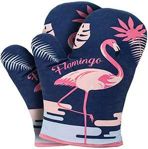 YZEECOL Soft Cotton Oven Mitts Soft Cotton Heat Resistant Flamingo Design Gloves Safe Kitchen Baking Grilling Microwave Oven Mitts Navy Blau
