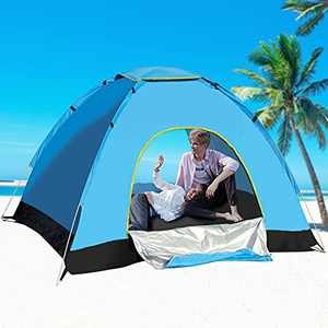 Pop Up Beach Tent, Locsee Waterproof Sun Shelter Beach Shade Instant Portable Tent with UPF50 for Outdoor Activities Camping Traveling Beach Cabana for 1-2 Persons for Family Adults - Blue