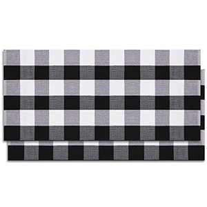 HEBE 2 Pack Buffalo Plaid Rugs, 24'' X 51'' Washable Buffalo Checkered Porch Rugs, Hand-Woven Black and White Cotton Outdoor Mats for Porch, Entryway, Kitchen, Farmhouse