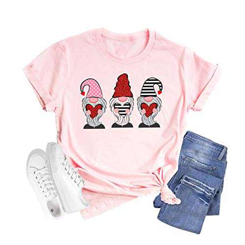 Shiny Gnomes Cartoon Print Shirts for Women Valentines Day Cute Hearts Graphic Short Sleeve Casual Tops (Pink, L)