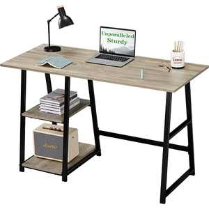 Computer Desk 47.24inch with 2-Tier Shelves Sturdy Home Office Desk with Large Storage Space Work Desk Study Table, Grey