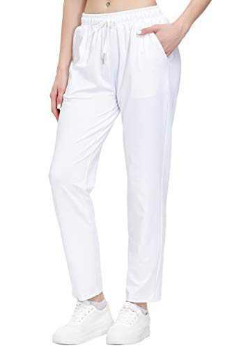 Women's Stretch Lounge Sweatpants Joggers Ankle 7/8 Athletic Track Yoga Dress Pants White XL